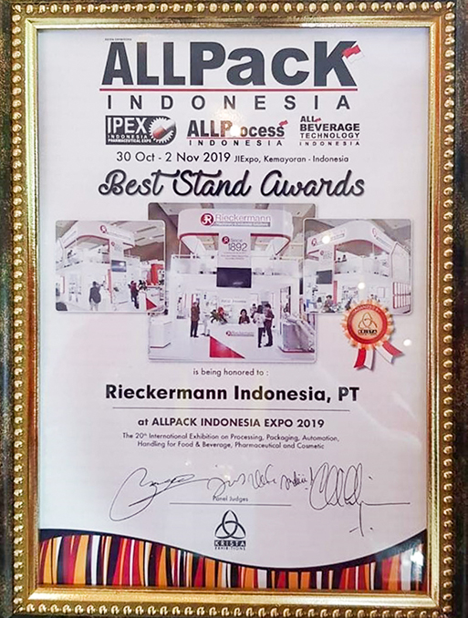 Best Stand Award ALLPACK INDONESIA 2019