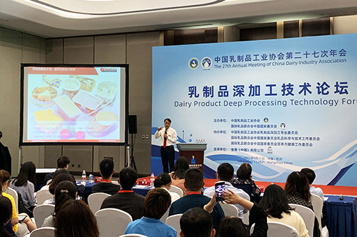 """Sales representative giving a lecture about """"Process and Key Equipment for Kids' Lollipop Cheese"""""""